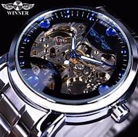 Мужские механические часы Winner Steel Blue. Наручные часы скелетоны с автоподзаводом