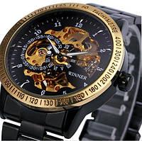 Мужские механические часы Winner Steel Choko. Классические наручные часы скелетоны на стальном браслете