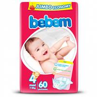 Подгузники Bebem Maxi размер 4 (7-18 кг), 60шт Jumbo Pack