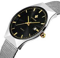 Мужские наручные часы Wwoor Rich. Тонкие классические часы на браслете