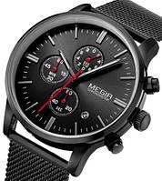 Мужские наручные часы Megir Metal. Классические кварцевые часы с хронографом и датой