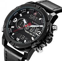 Мужские наручные часы Naviforce 9097 Kosmos Black. Спортивные кварцевые часы с электронным временем