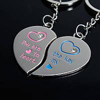 Брелок для ключей, Половинки сердца, You are the key to my heart . Эмаль, 94 mm x 30 мм, фото 1