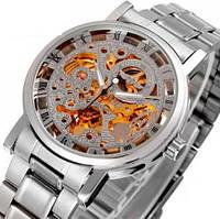 Мужские механические часы Winner BestSeller Silver. Наручные часы скелетоны на стальном браслете