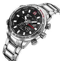 Мужские наручные часы Naviforce 9093 Sanova Silver. Спортивные кварцевые  часы с двойным временем 19df5f73c63e3