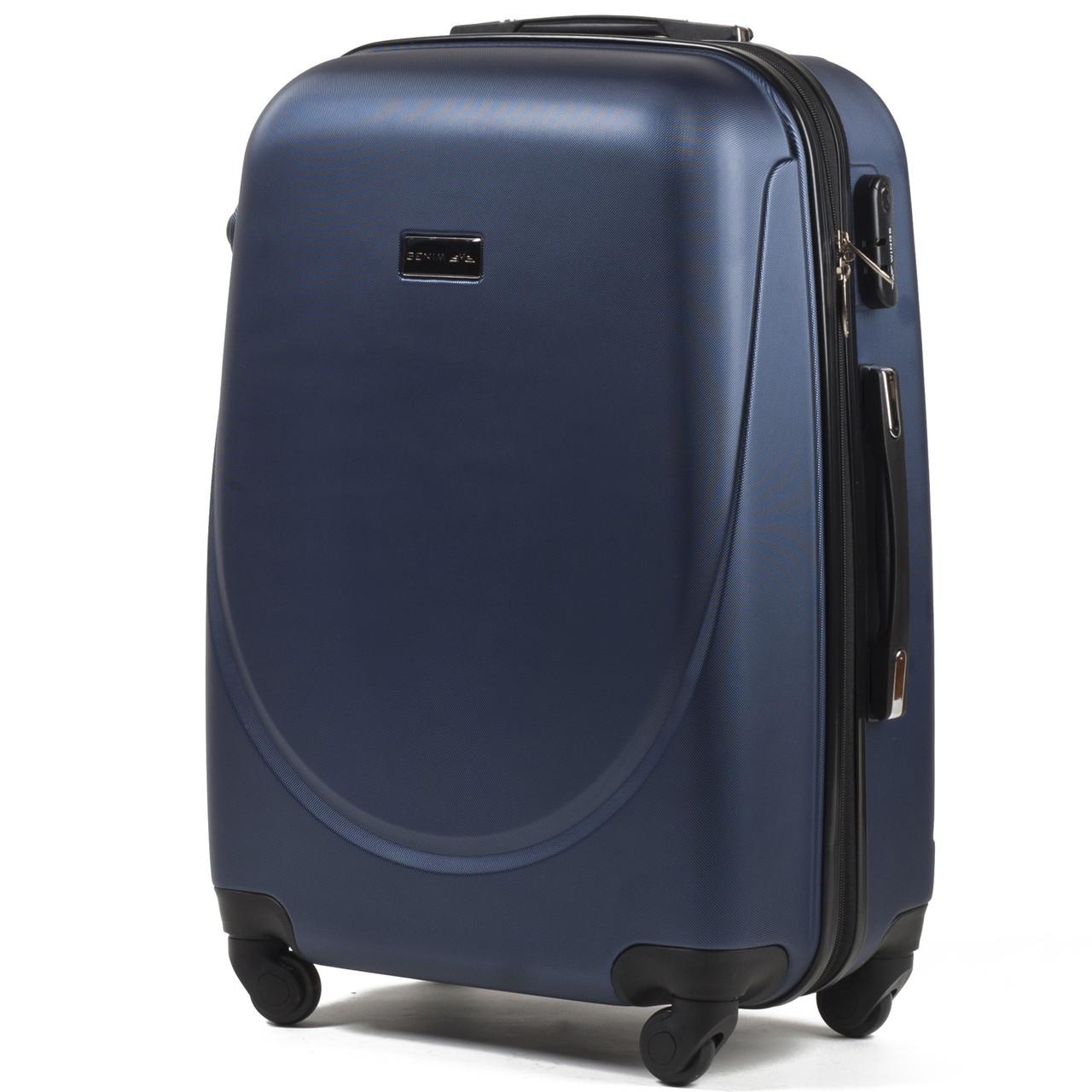 Средний пластиковый чемодан Wings 310 на 4 колесах синий