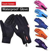 Лыжные перчатки сенсорные , перчатки зимние на флисе, неопрен , Велосипедные перчатки