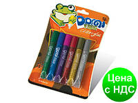 """Клей силиконовый с блестками на картоне """"Domi Frog"""" (6 цветов,10.5 мл.)"""