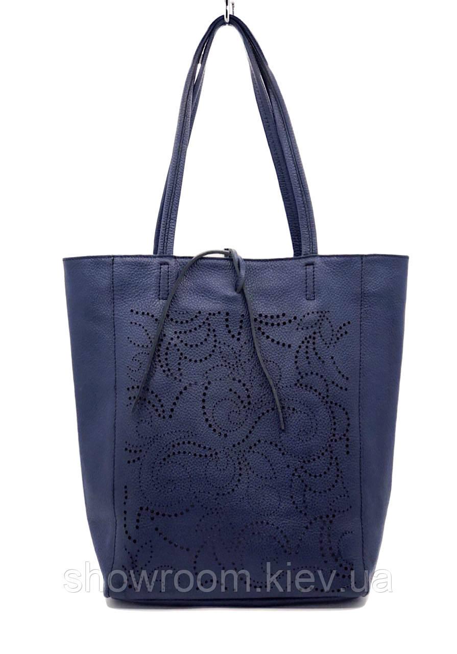 Сумка шоппер женская Laura Biaggi (54-33) кожаная синяя