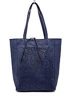 Сумка шоппер женская Laura Biaggi (54-33) кожаная синяя, фото 1