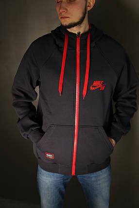 Толстовка мужская зимняя Nike (тёмно серая), фото 2