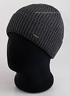 Вязаная мужская шапка Lucky F серая