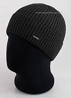 Мужская шапка с отворотом Lucky F темно-серая