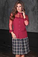 Блузка цвета марсала с прозрачной кокеткой