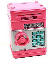 Копилка MK 1928 сейф с кодом, затягивает купюры - 4 цвета Розовый