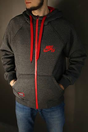 Толстовка мужская зимняя Nike (серая), фото 2