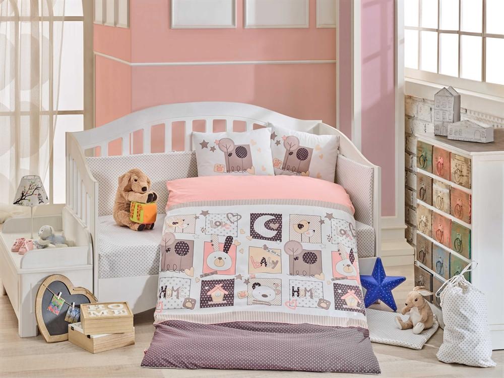 Детская постель в кроватку 100х150 HOBBY поплин Sweet Home розовый
