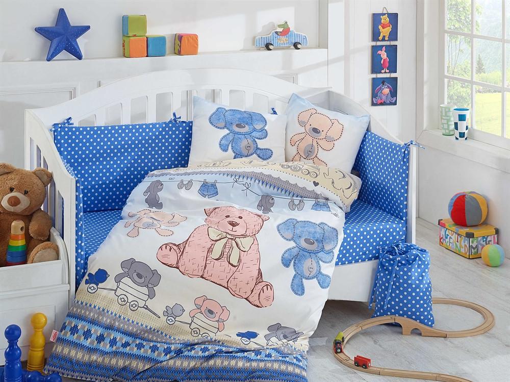 Детская постель в кроватку 100х150 HOBBY поплин Tombik голубой