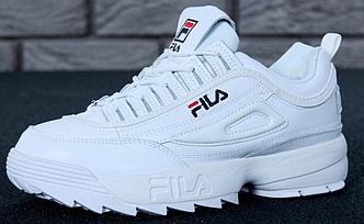 Зимние женские кроссовки Fila Disruptor 2(II) White с мехом, Фила белые