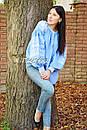 Вышитая блузка вышиванка лен этно стиль бохо шик, голубая блузка вишиванка , фото 6