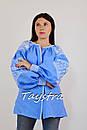 Вышитая блузка вышиванка лен этно стиль бохо шик, голубая блузка вишиванка , фото 4