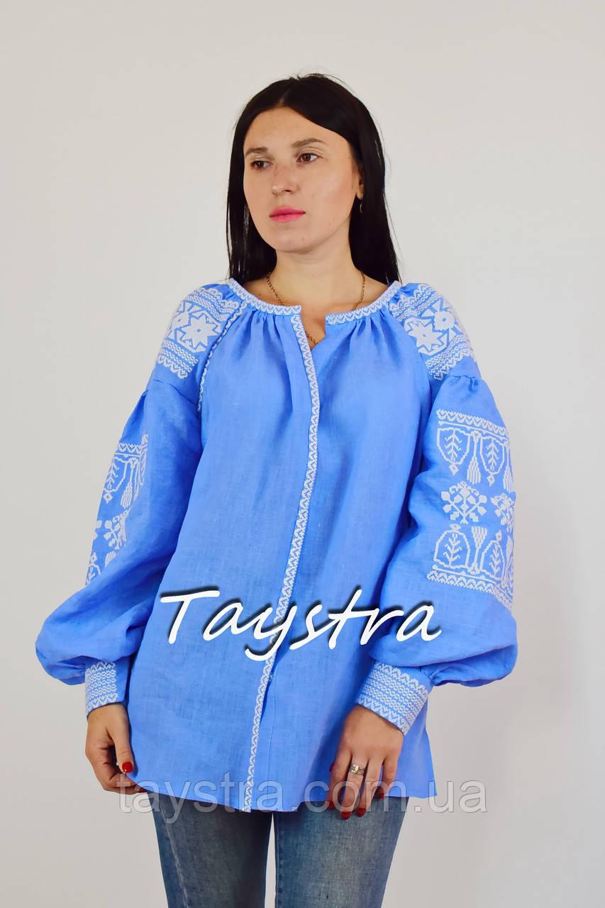Вышитая блузка вышиванка лен этно стиль бохо шик, голубая блузка вишиванка