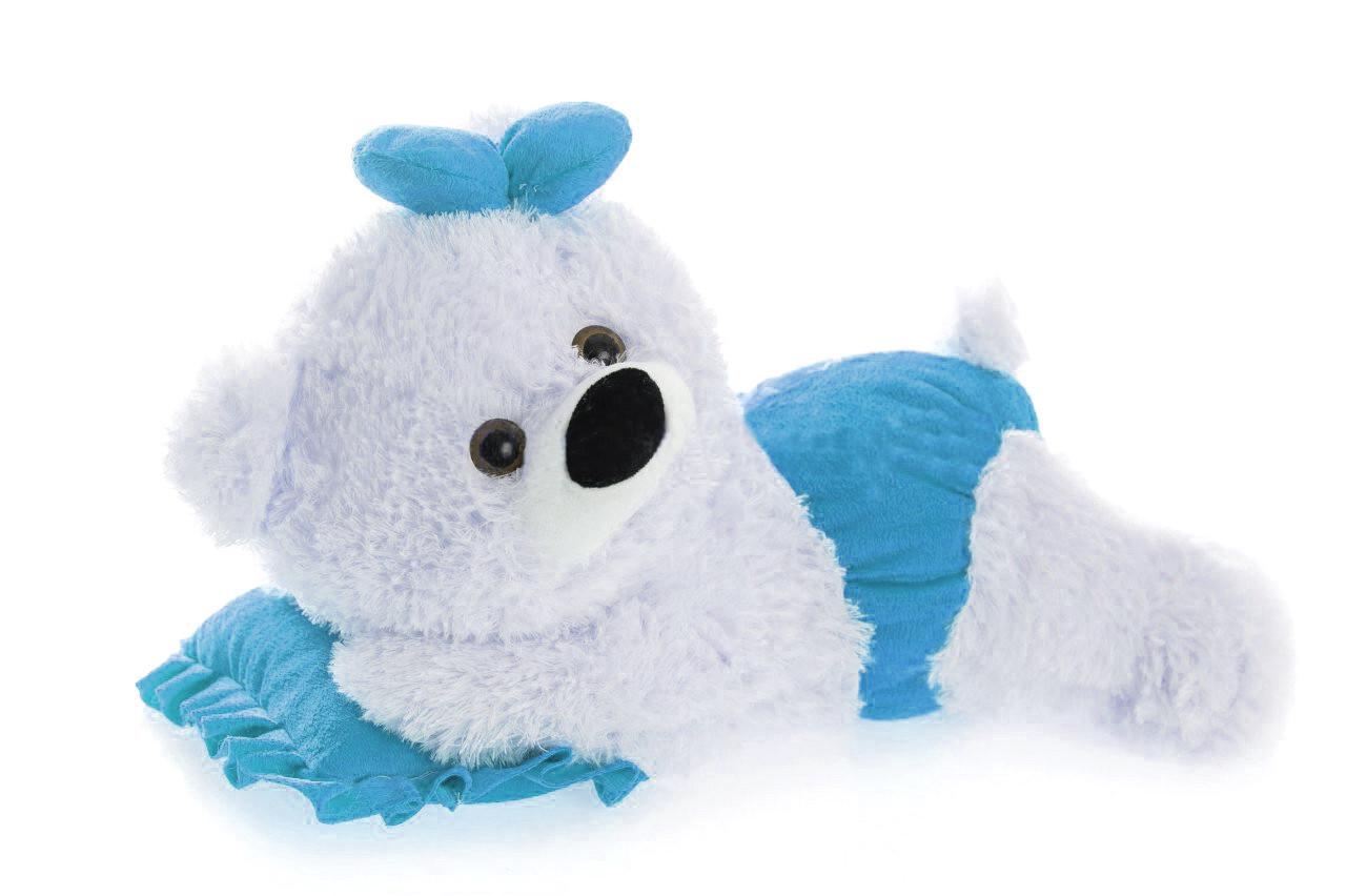 Плюшевая мишка малышка(мягкая игрушка)  45 см белый с голубым Алина