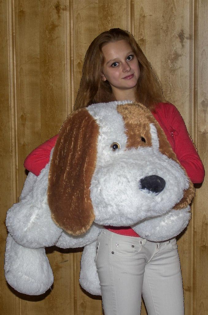 Плюшевая собачка Шарик(мягкая игрушка)10 см белый Алина