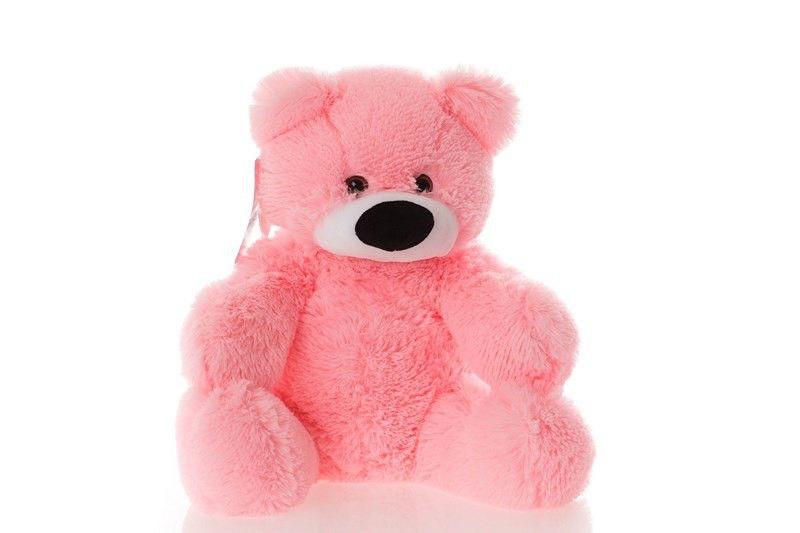 Плюшевый медведь Бублик 45 см розовый