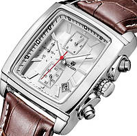 Мужские наручные часы Megir 2028 Verona White. Классические кварцевые часы с хронографом и датой