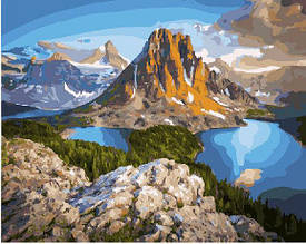 Картина по номерам Озеро у подножья горы