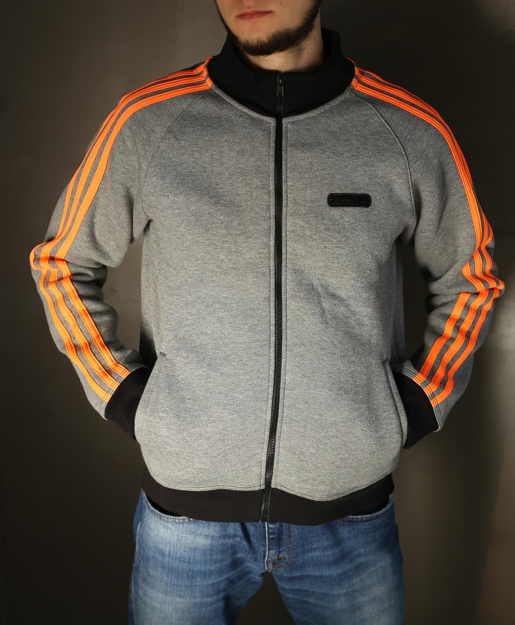 Толстовка мужская зимняя Adidas,серая