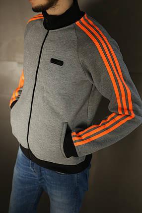 Толстовка мужская зимняя Adidas,серая , фото 2