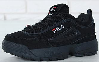 Кроссовки Мужские FILA Disruptor II FUR, Фила черные зимние замшевые кроссовки с мехом