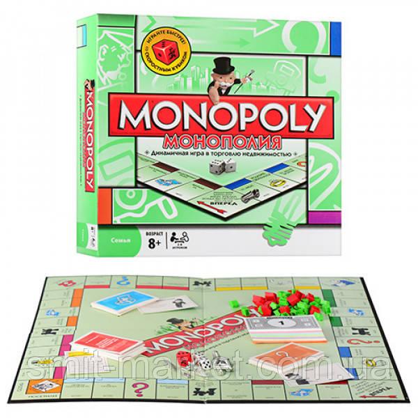 """Игра """"Монополия"""" 6123   жетоны,карточки,деньги,фигур зданий,кубики"""