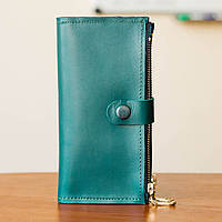 Женский кожаный кошелек из натуральной кожи ручной работы Revier зеленый