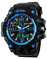 Мужские наручные часы Skmei 1155 Hamlet Blue. Противоударные спортивные часы с подсветкой