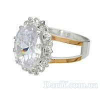 """Серебряное кольцо с золотыми накладками """"Ажур"""", фото 1"""