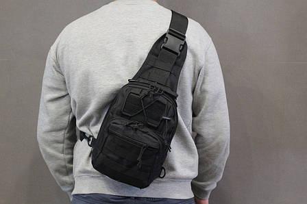 Тактическая - штурмовая универсальная сумка на 6-7 литров с системой M.O.L.L.E Black (095 черная), фото 2
