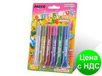 """Клей силиконовый с блестками на картоне """"Pasco"""" (6 цветов,10 мл.)"""