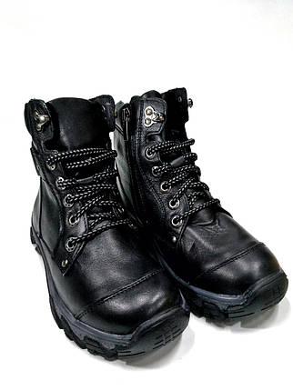 Подростковые ботинки из натуральной кожи черные.Mida 3473, фото 2
