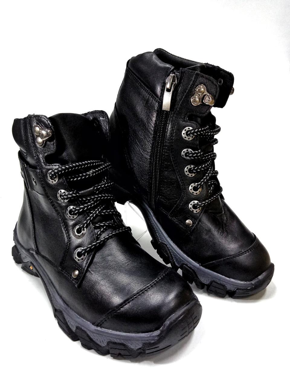 Подростковые ботинки из натуральной кожи черные.Mida 3473