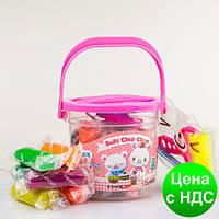 "Моделин Aihao 69021 ""Ведро"" 12 цв. + пластиковые фигурки (глина для лепки)"