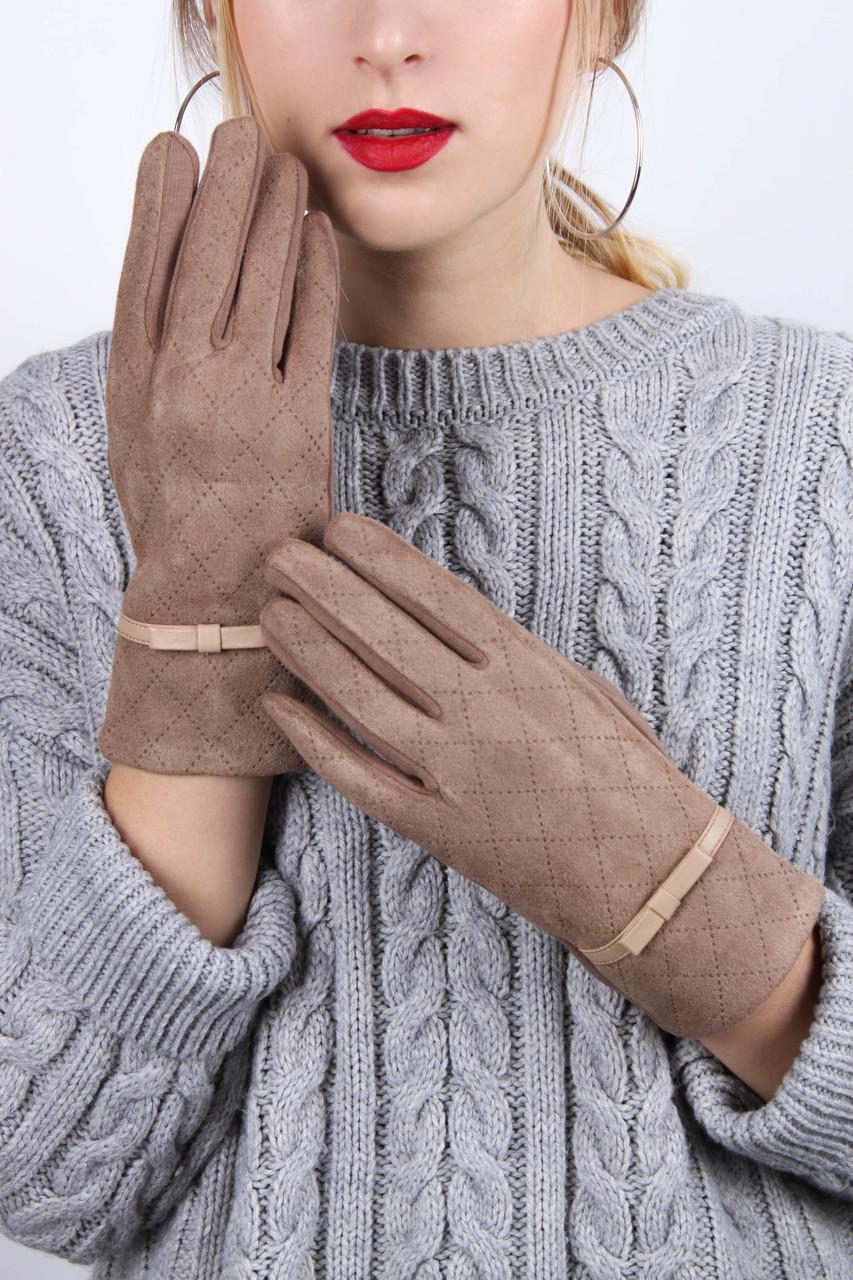 Женские перчатки трикотажныесенсорные Юния капучиновые