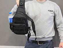 Тактическая, штурмовая, военная, универсальная, городская сумка на 5-6 литров с системой M.O.L.L.E s4 (черная), фото 3