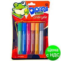 """Клей силиконовый с блестками на картоне """"Domi Frog"""" металлик (3D/6 цветов,10.5 мл.)"""