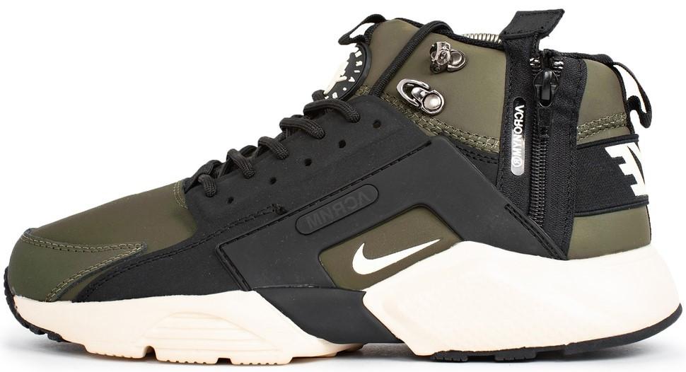 """Мужские зимние кроссовки Nike Air Huarache Acronym """"Green/Black/White"""" (в стиле Найк)"""