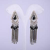 Серьги в восточном стиле с черными кристаллами L-70мм