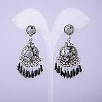 Серьги в восточном стиле с серыми кристаллами L-20мм