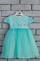 Бирюзовое детское бальное платье для девочки код: 7016, размеры: от 80 до 134
